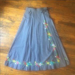 Wrap floral embroidery Boho Skirt Sz m